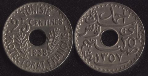 Тунис 25 сантим 1938
