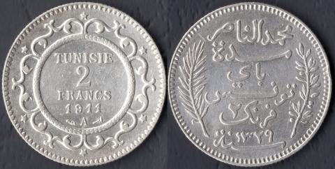 Тунис 2 франка 1911