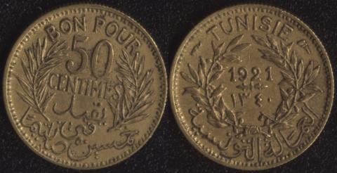 Тунис 50 сантим 1921