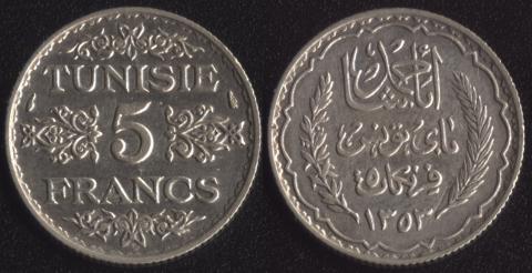 Тунис 5 франков 1934