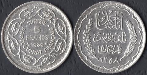 Тунис 5 франков 1939