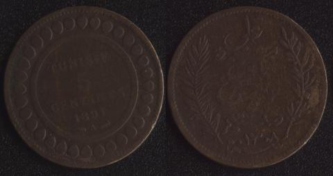 Французский Тунис 5 сантим 1891