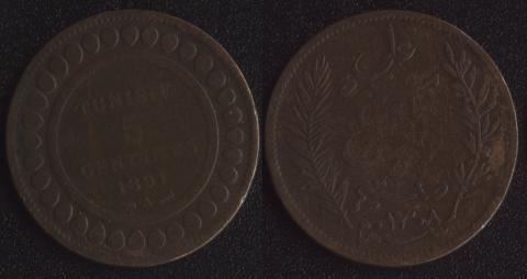 Тунис 5 сантим 1891