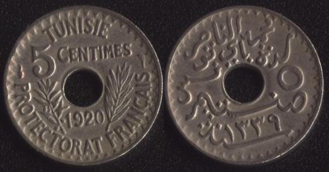 Французский Тунис 5 сантим 1920