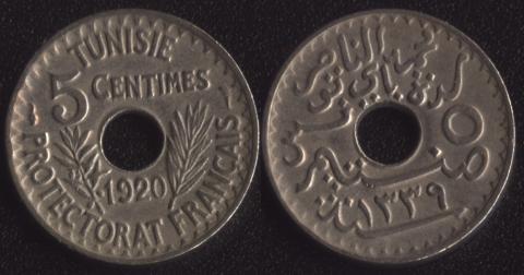 Тунис 5 сантим 1920