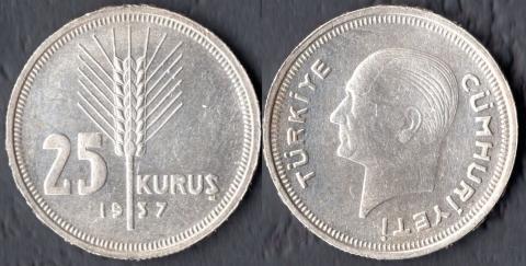 Турция 25 куруш 1937