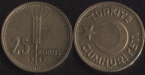 Турция 25 куруш 1945