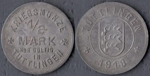 Туттлинген 1/2 марки 1918