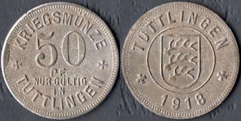 Туттлинген 50 пфеннигов 1918