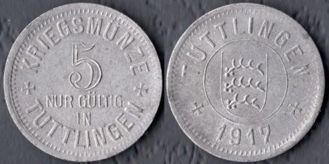 Туттлинген 5 пфеннигов 1917 (железо)