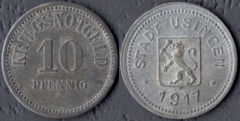 Узинген 10 пфеннигов 1917
