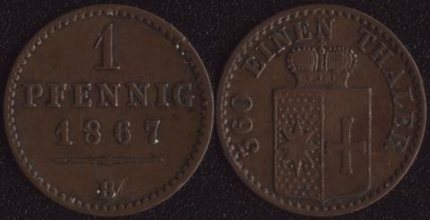 Вальдек 1 пфенниг 1867