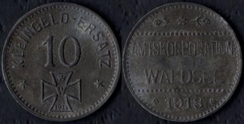 Вальдзее 10 пфеннигов 1918