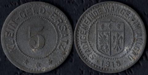 Ванген 5 пфеннигов 1918