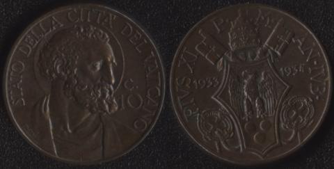 Ватикан 10 чентезими 1933-1934