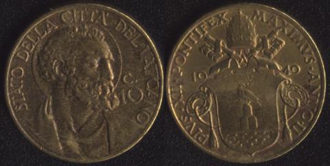 Ватикан 10 чентезими 1940