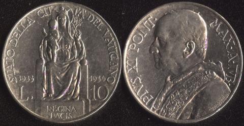 Ватикан 10 лир 1933-34