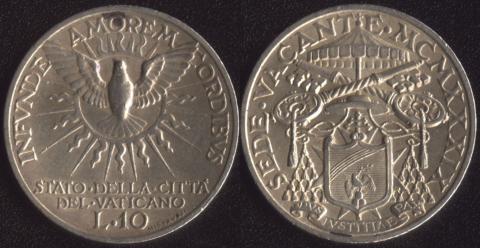 Ватикан 10 лир 1939 (Свободный престол)