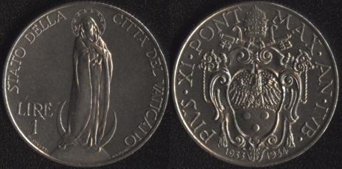 Ватикан 1 лира 1933-1934