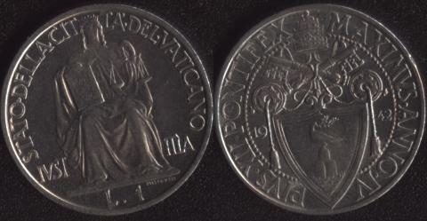 Ватикан 1 лира 1942