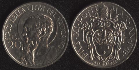 Ватикан 20 чентезими 1933-1934