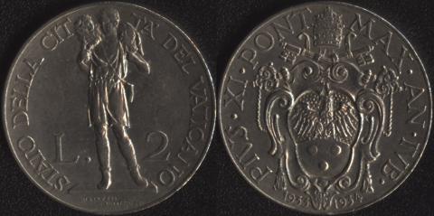 Ватикан 2 лиры 1933-1934