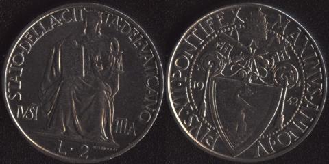 Ватикан 2 лиры 1942