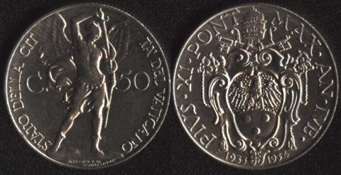 Ватикан 50 чентезими 1933-1934