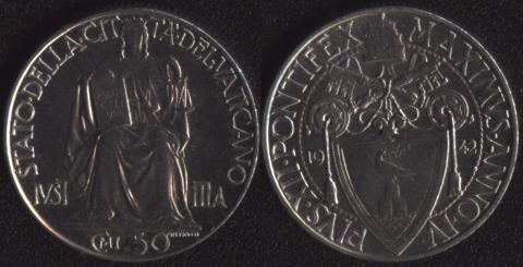 Ватикан 50 чентезими 1942