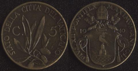 Ватикан 5 чентезими 1940