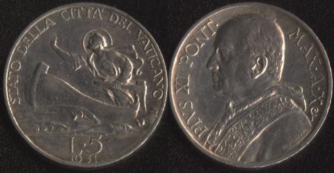 Ватикан 5 лир 1931