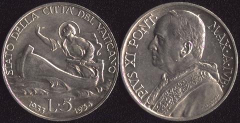 Ватикан 5 лир 1933-1934