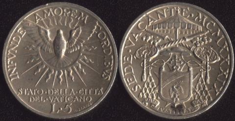 Ватикан 5 лир 1939 (Свободный престол)