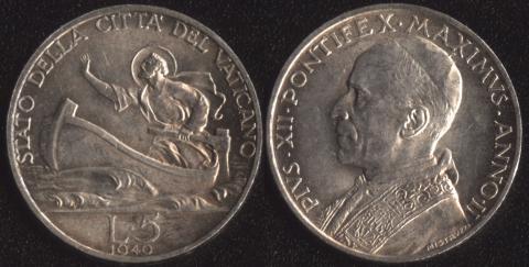 Ватикан 5 лир 1940
