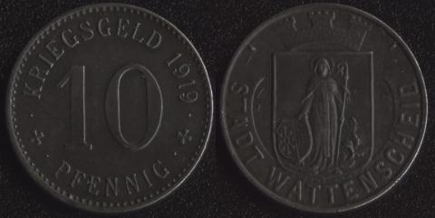 Ваттеншайд 10 пфеннигов 1919