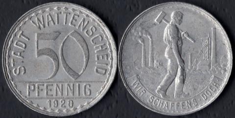 Ваттеншайд 50 пфеннигов 1920