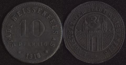 Вайссенфелс 10 пфеннигов 1918 (город)