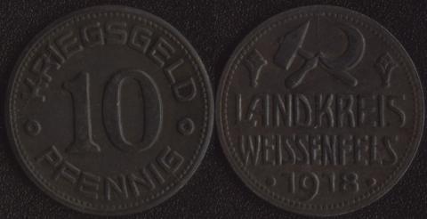 Вайссенфелс 10 пфеннигов 1918 (округ)