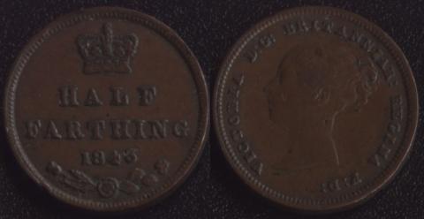 Великобритания 1/2 фартинга 1843