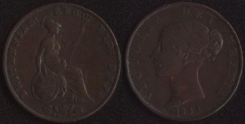 Великобритания 1/2 пенни 1841