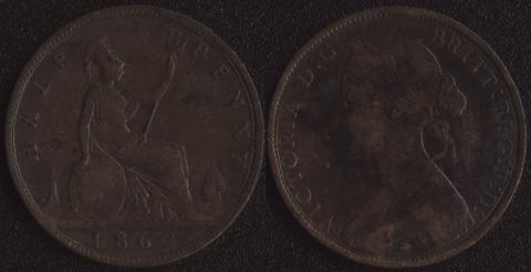 Великобритания 1/2 пенни 1862