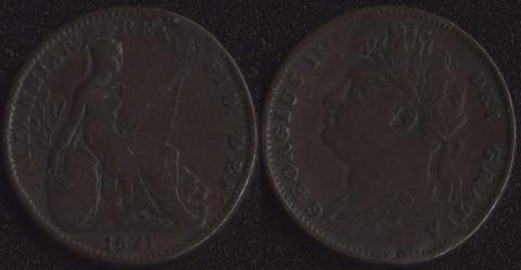 Великобритания 1 фартинг 1821