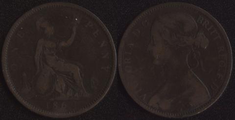Великобритания 1 пенни 1862
