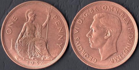 Великобритания 1 пенни 1937