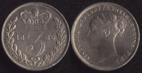 Великобритания 3 пенса 1886