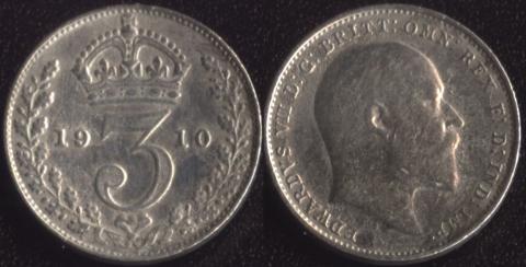 Великобритания 3 пенса 1910