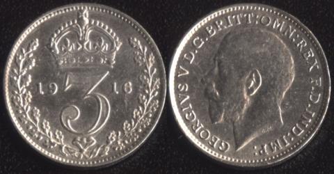 Великобритания 3 пенса 1916