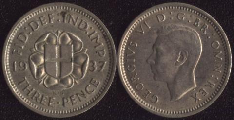 Великобритания 3 пенса 1937