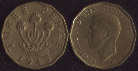 Великобритания 3 пенса 1943