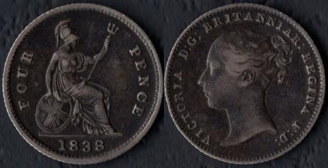 Великобритания 4 пенса 1838